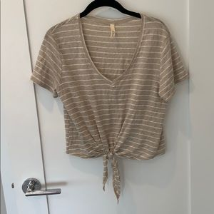 Cropped tan and white tee with tie detail